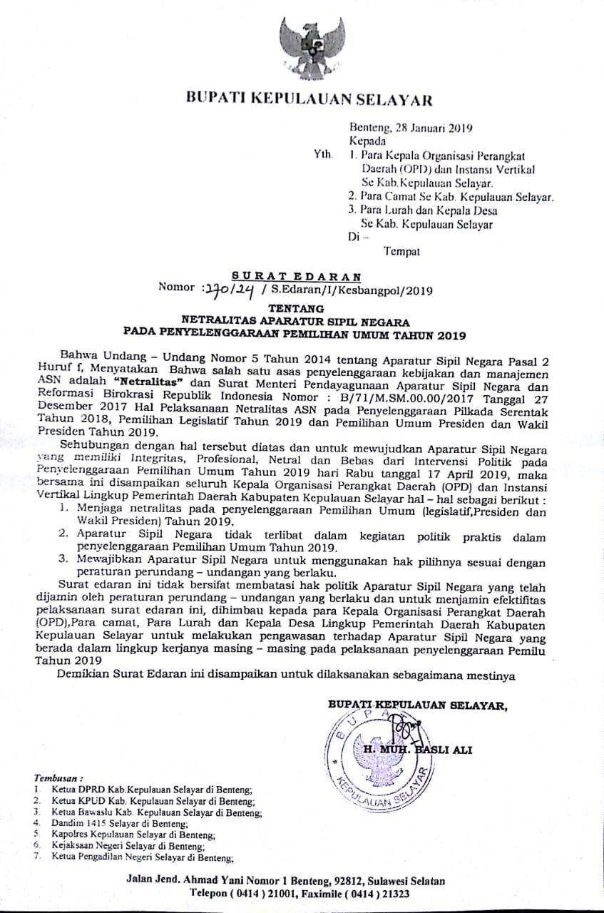 Bupati H Basli Ali Keluarkan Surat Edaran Tentang